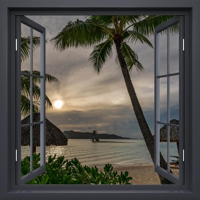 Vinyl-Fototapete Schwarz-Fenster geöffnet - Palmen - Blick durch das Fenster