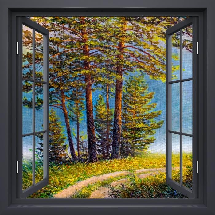 Fototapeta winylowa Okno czarne otwarte - Letni las - Widok przez okno