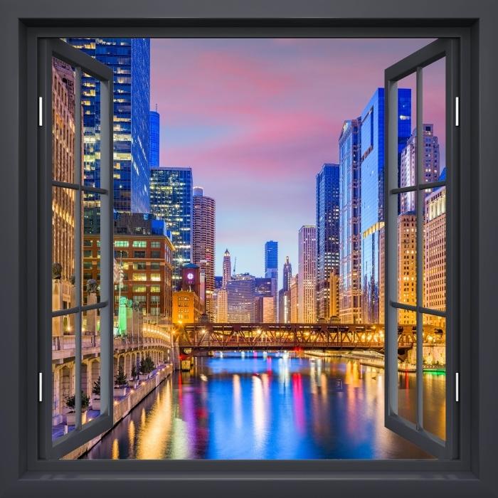 Black window open - Chicago, Illinois, USA. Vinyl Wall Mural - View through the window