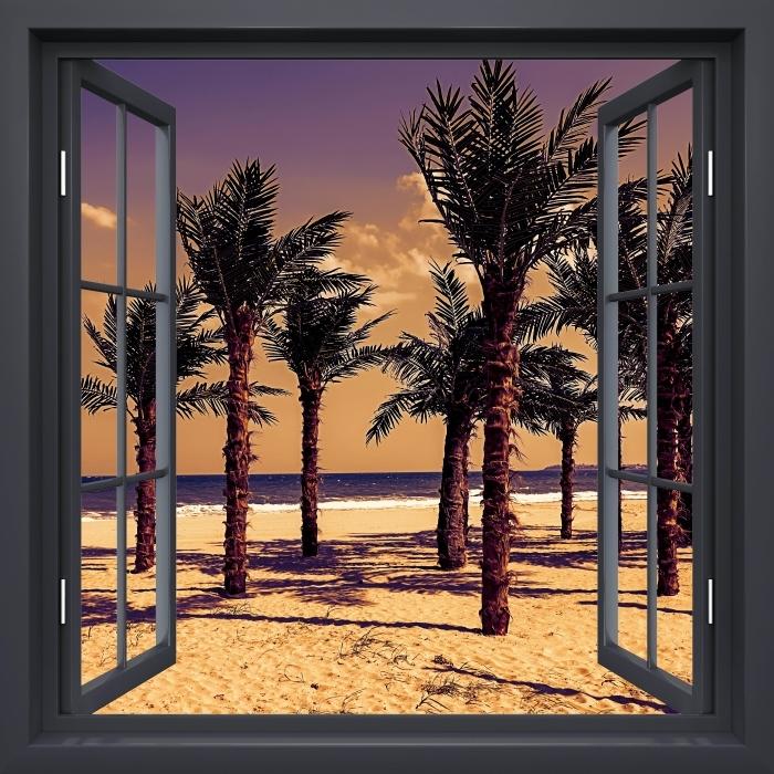 Vinil Duvar Resmi Açık Siyah pencere - Palmiyeler - Pencere manzarası