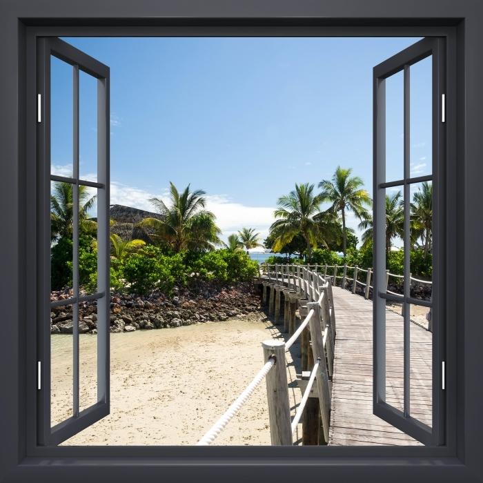 Papier peint vinyle Noir A Ouvert La Fenêtre - Le Long Du Pont - La vue à travers la fenêtre