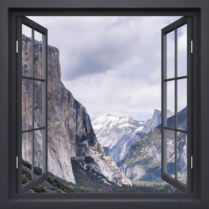 Vinyl Fotobehang Black raam open - Yosemite National Park - Uitzicht door het raam