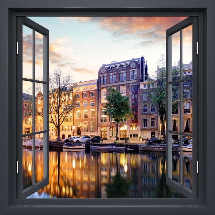 Fototapeta samoprzylepna Okno czarne otwarte - Amsterdam. Holandia. - Imitacje