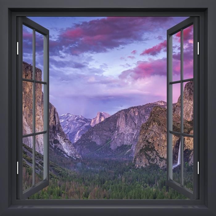 Black window open - Yosemite National Park Vinyl Wall Mural - View through the window