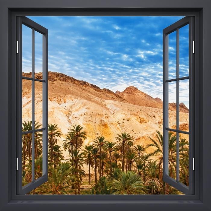 Fotomural Estándar Negro Ventana Abierta - Oasis De Montaña - Vistas a través de la ventana