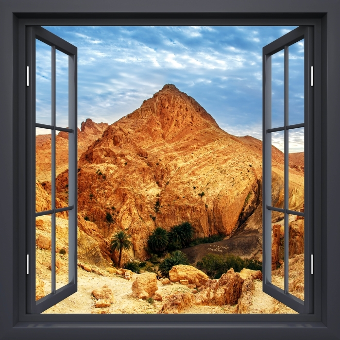 Fototapeta winylowa Okno czarne otwarte - Górskie oazy - Widok przez okno