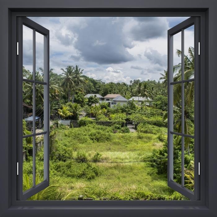 Papier peint vinyle Fenêtre Noire Ouverte - Rice Field - La vue à travers la fenêtre