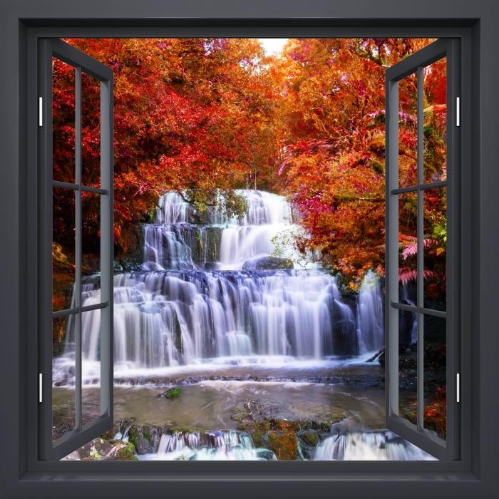Fototapeta winylowa Okno czarne otwarte - Wodospad w dżungli. Nowa Zelandia - Widok przez okno