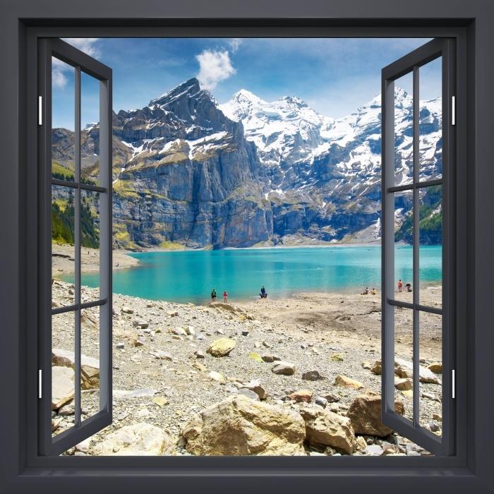 Papier peint vinyle Fenêtre Noire Ouverte - Lac. Suisse - La vue à travers la fenêtre