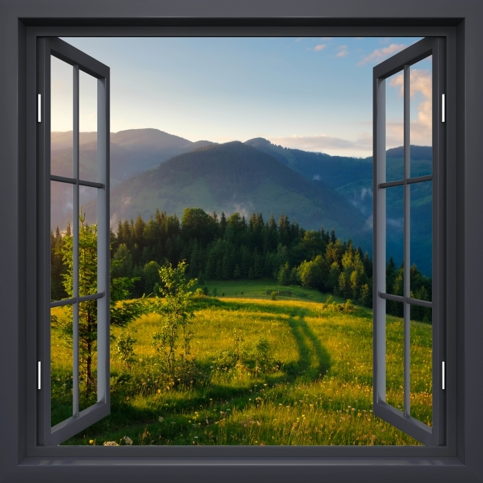 Papier peint vinyle Fenêtre Noire Ouverte - Vallée De Montagne - La vue à travers la fenêtre