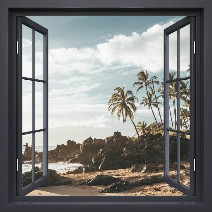 Fototapeta winylowa Okno czarne otwarte - Palmy. Hawaje. - Widok przez okno