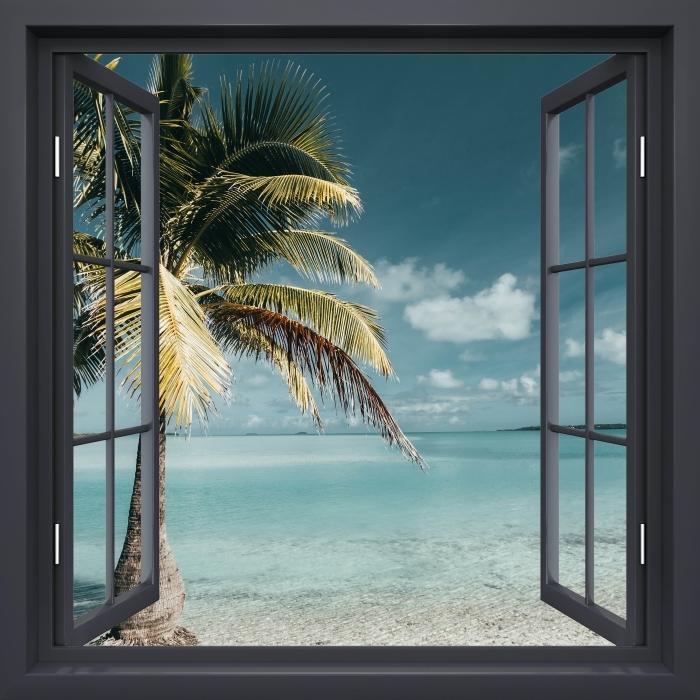 Papier peint vinyle Fenêtre Noire Ouverte - Cuisine Arbre Palm Island - La vue à travers la fenêtre