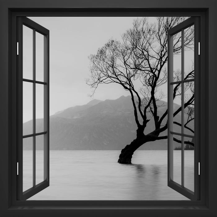 Fototapeta winylowa Okno czarne otwarte - Krajobraz. Nowa Zelandia - Imitacje