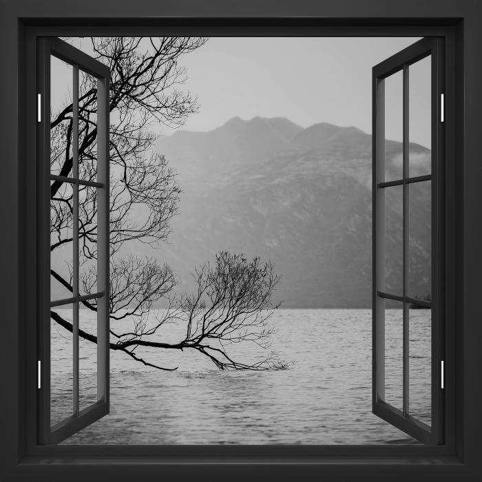 Papier peint vinyle Fenêtre Noire Ouverte - Paysage. Nouvelle-Zélande - La vue à travers la fenêtre