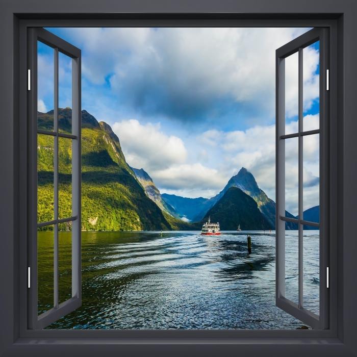 Fototapeta winylowa Okno czarne otwarte - Wybrzeże i góry - Widok przez okno