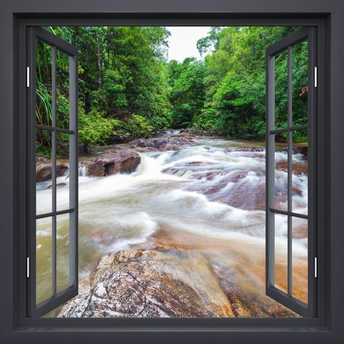 Fototapeta winylowa Okno czarne otwarte - Wodospad w lesie - Widok przez okno