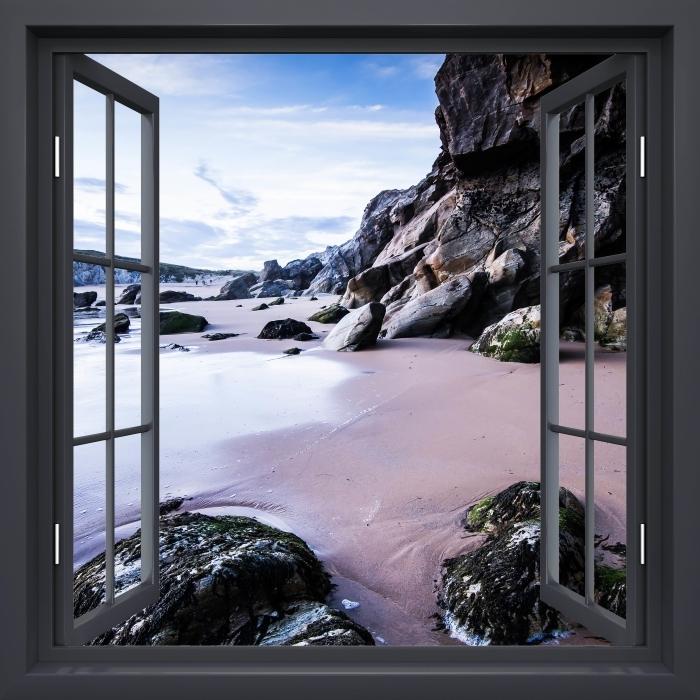 Fototapeta winylowa Okno czarne otwarte - Wybrzeże we Francji. - Widok przez okno