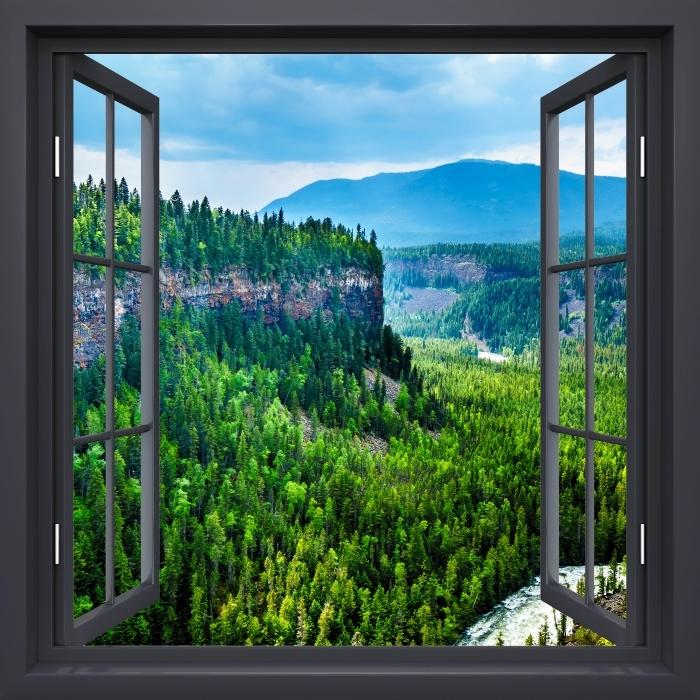Papier peint vinyle Fenêtre Noire Ouverte - Colombie. - La vue à travers la fenêtre