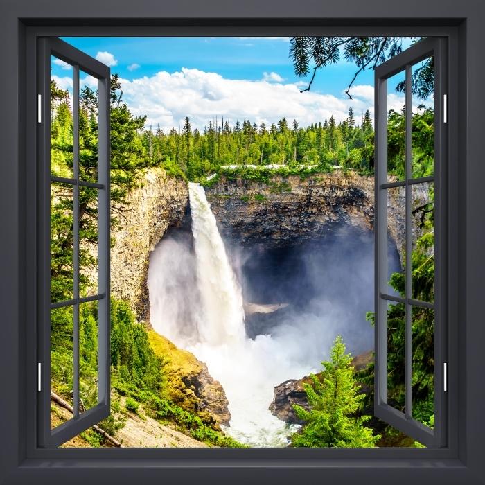 Fototapeta winylowa Okno czarne otwarte - Góry. Kanada. - Widok przez okno
