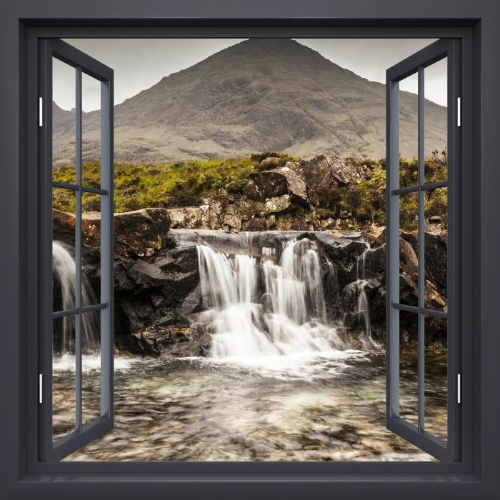Papier peint vinyle Fenêtre Noire Ouverte - Piscines Fée - La vue à travers la fenêtre