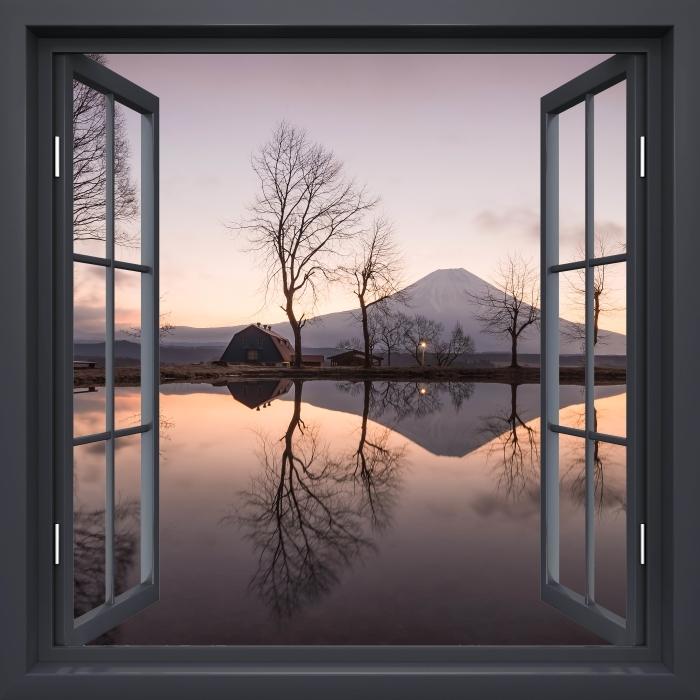 Papier peint vinyle Fenêtre Noire Ouverte - Mont Fuji - La vue à travers la fenêtre