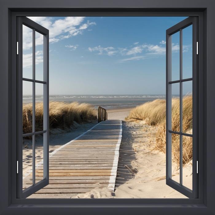 Fototapeta winylowa Okno czarne otwarte - Nordsee Strand auf Langeoog - Widok przez okno