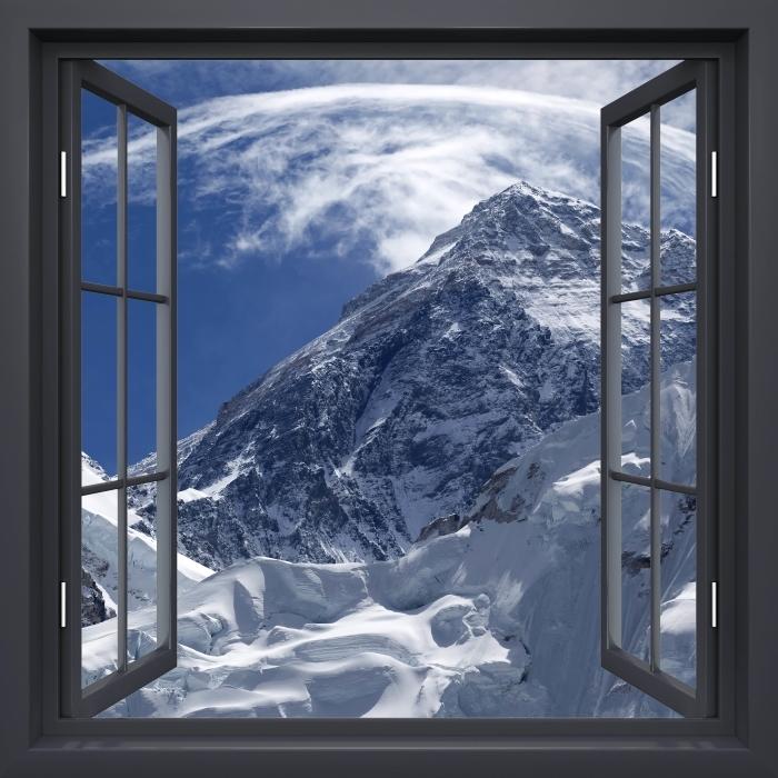 Papier peint vinyle Fenêtre Noire Ouverte - Le Mont Everest - La vue à travers la fenêtre