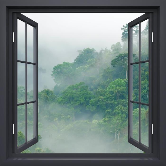 Papier peint vinyle Fenêtre Noire Ouverte - Les Forêts Tropicales - La vue à travers la fenêtre