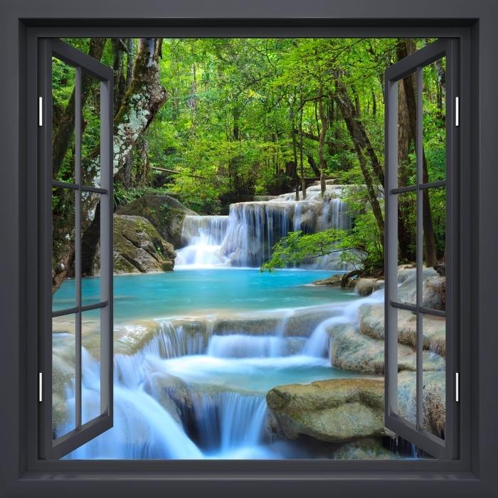 Fototapeta winylowa Okno czarne otwarte - Wodospad Erawan. Tajlandia - Widok przez okno