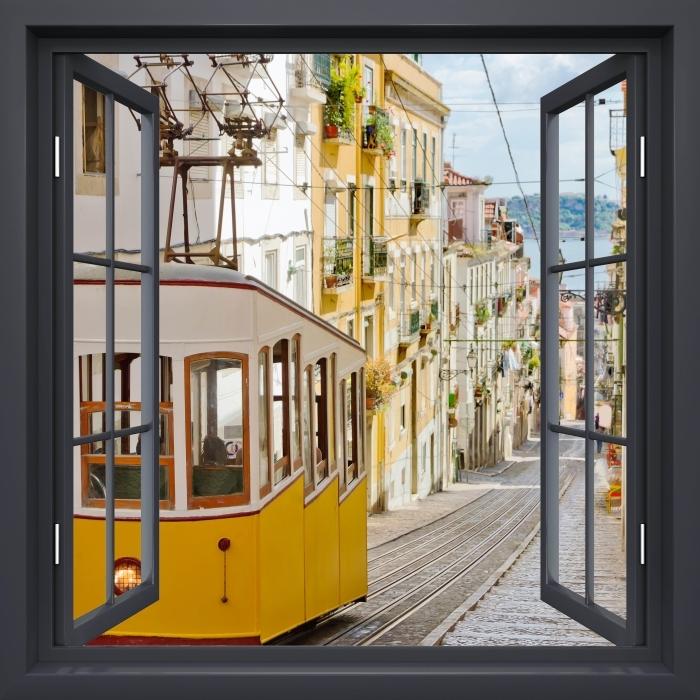 Papier peint vinyle Fenêtre Noire Ouverte - Lisbonne. - La vue à travers la fenêtre