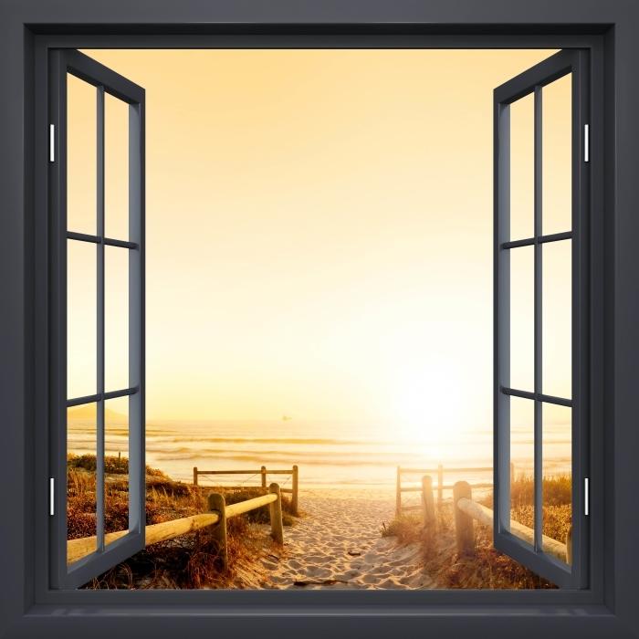 Papier peint vinyle Fenêtre Noire Ouverte - Coucher De Soleil Sur L'Océan. - La vue à travers la fenêtre