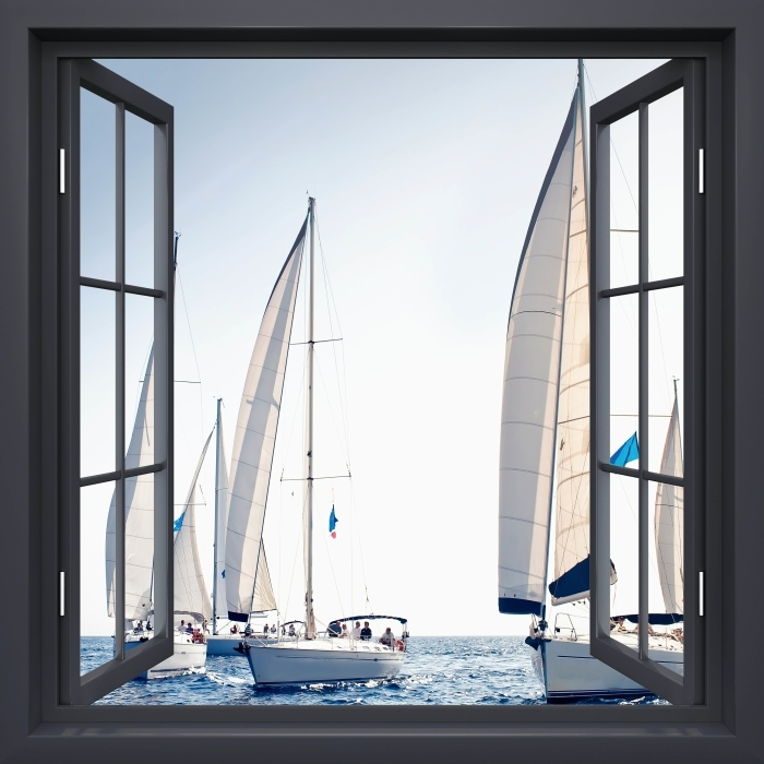 Vinyl-Fototapete Schwarz-Fenster geöffnet - Yachten mit weißen Segeln - Blick durch das Fenster