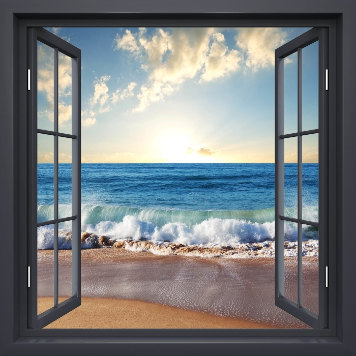Papier peint vinyle Fenêtre Noire Ouverte - Mer. Coucher Du Soleil. - La vue à travers la fenêtre