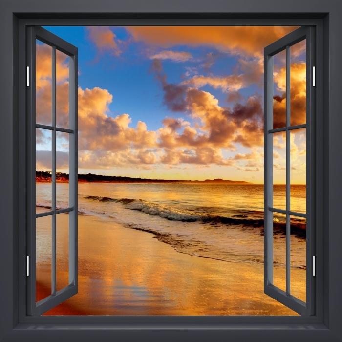 Fototapeta winylowa Okno czarne otwarte - Zachód słońca na plaży - Widok przez okno
