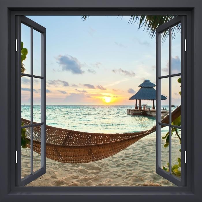 Papier peint vinyle Fenêtre Noire Ouverte - Hamac Et Le Soleil - La vue à travers la fenêtre