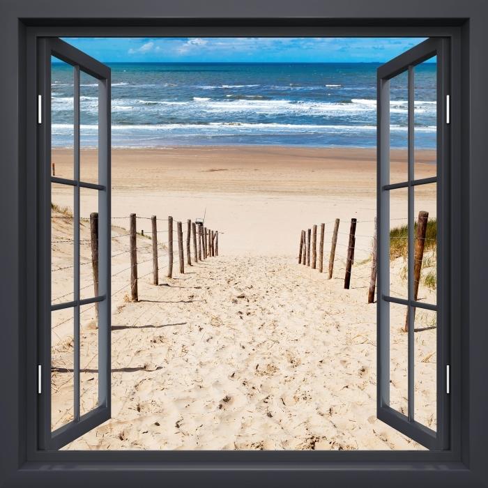 Papier peint vinyle Fenêtre Noire Ouverte - La Route De La Plage - La vue à travers la fenêtre