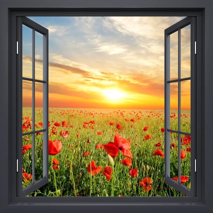 Papier peint vinyle Fenêtre Noire Ouverte - Champ De Coquelicots - La vue à travers la fenêtre