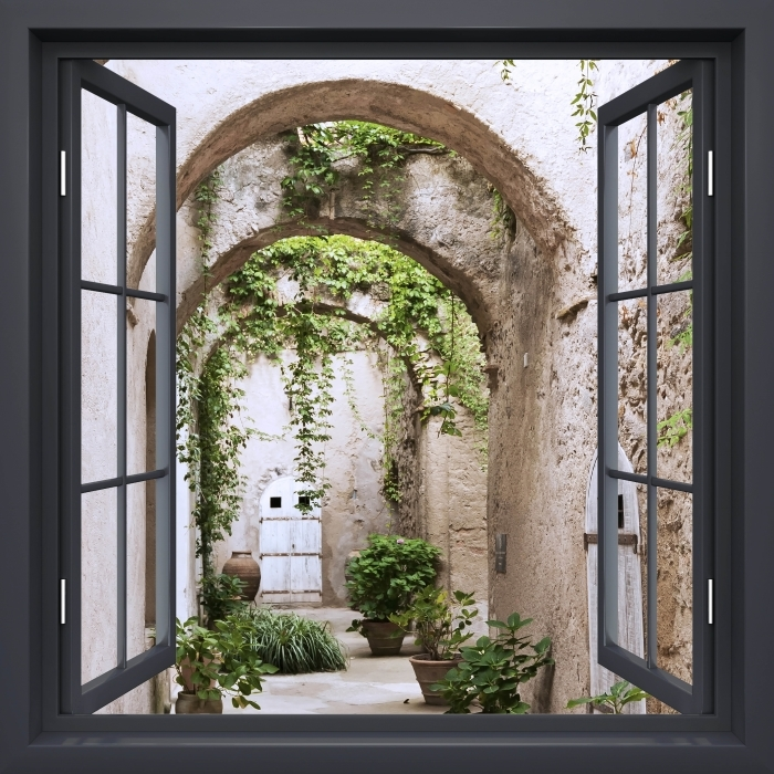Fotomural Estándar Negro Ventana Abierta - Arcade - Vistas a través de la ventana