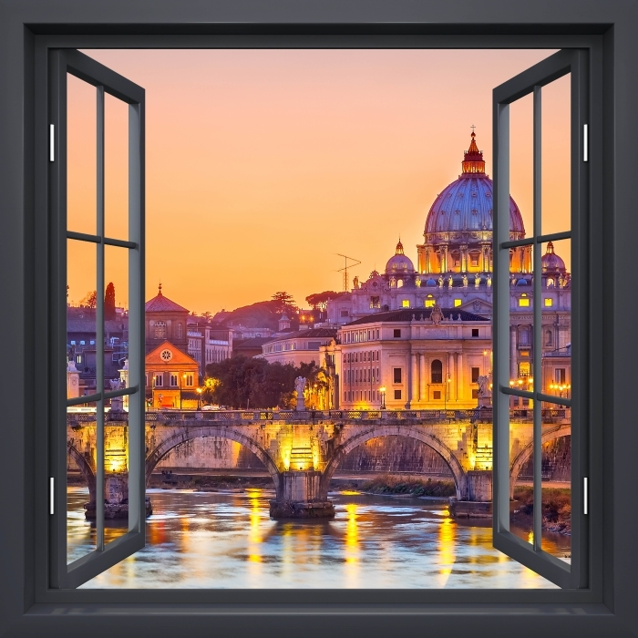 Black window open - Cathedral of St. Peter. Rome Vinyl Wall Mural - View through the window