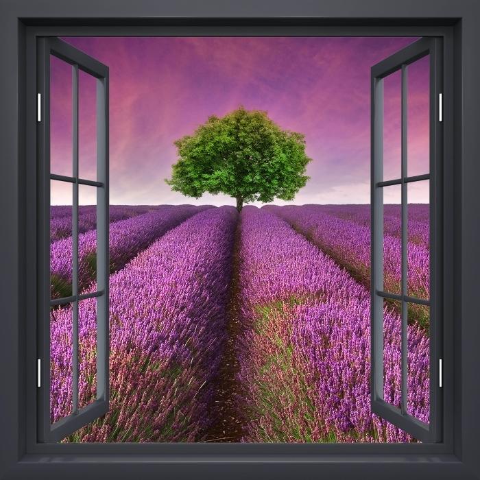 Fototapeta winylowa Okno czarne otwarte - Letni krajobraz - Widok przez okno