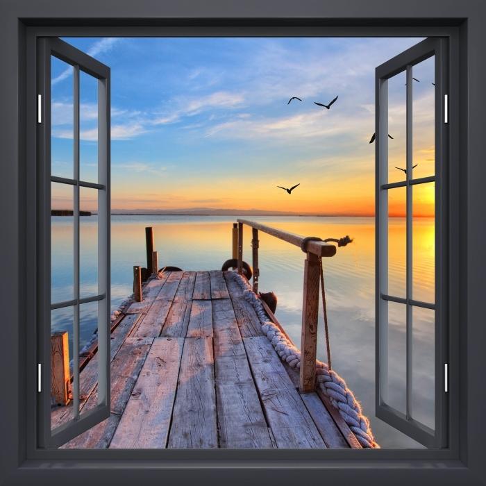 Vinyl Fotobehang Black raam open - Lake - Uitzicht door het raam