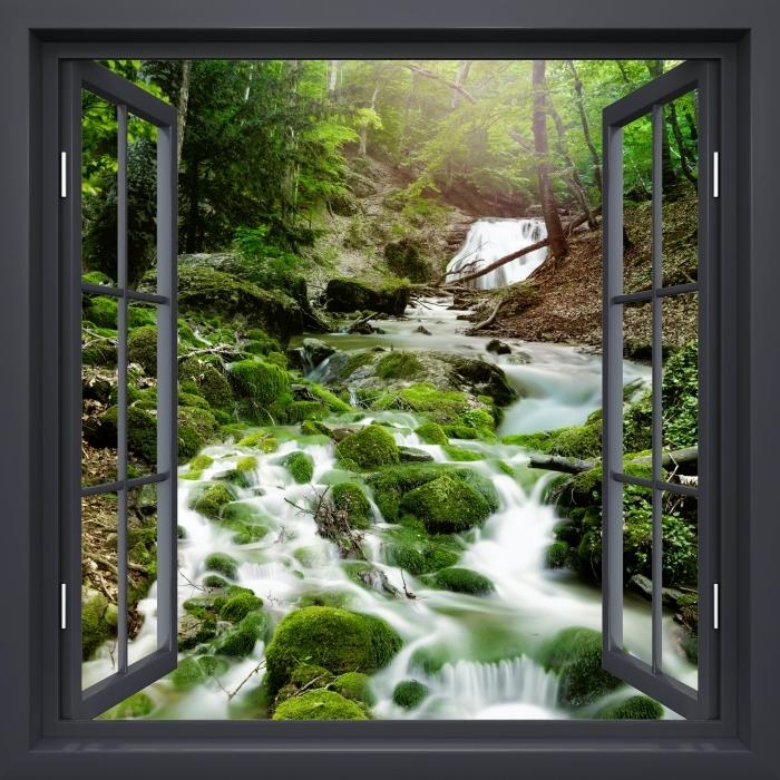 Papier peint vinyle Fenêtre Noire Ouverte - Forêt Et Cascade - La vue à travers la fenêtre