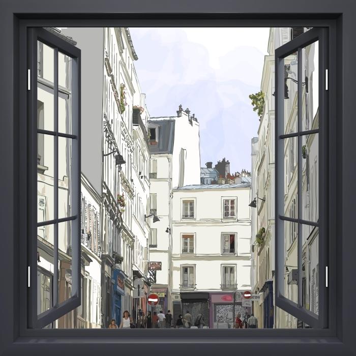Fototapeta zmywalna Okno czarne otwarte - Paryż - Widok przez okno