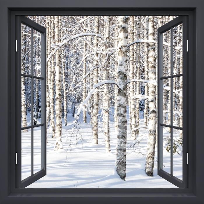 Fototapeta winylowa Okno czarne otwarte - Śnieżne brzozy - Widok przez okno