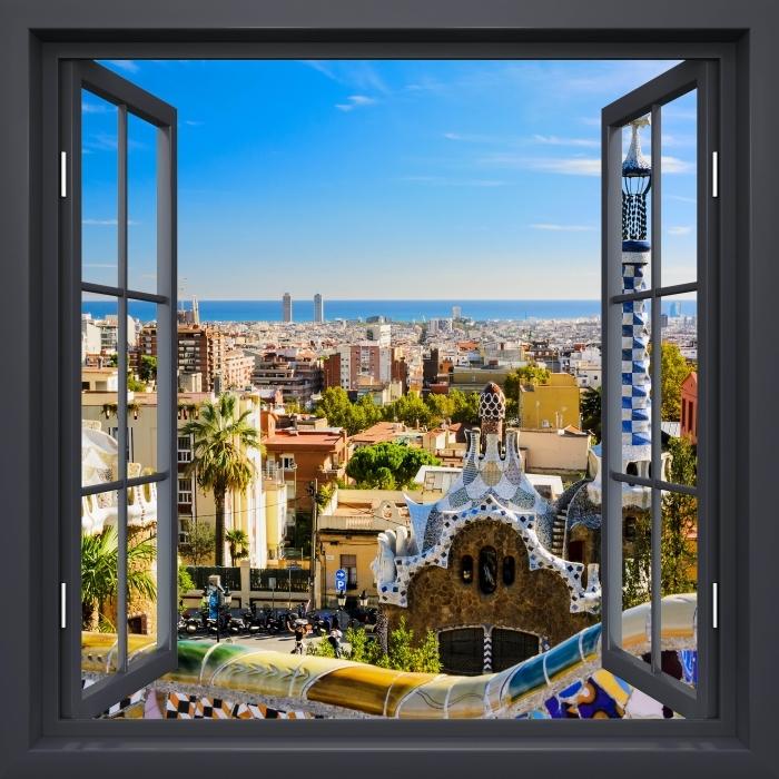Fototapeta winylowa Okno czarne otwarte - Park Guell w Barcelonie. Hiszpania. - Widok przez okno