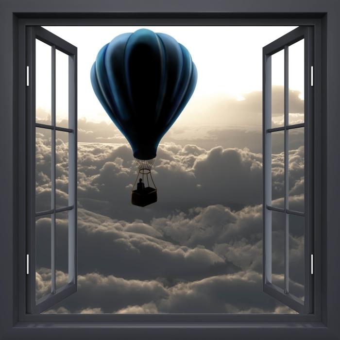 Papier peint vinyle Fenêtre Noire Ouverte - Ballon Dans Le Ciel - La vue à travers la fenêtre