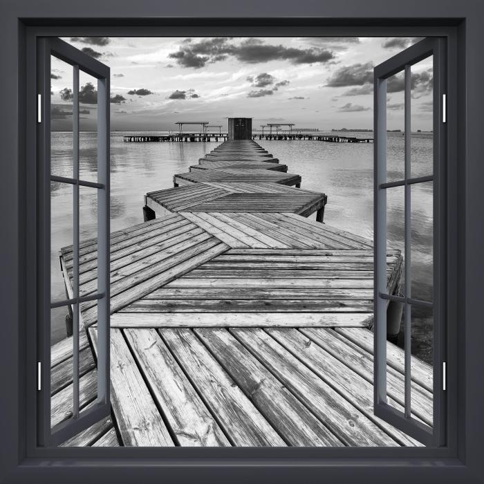 Vinyl-Fototapete Schwarz-Fenster geöffnet - Marina - Blick durch das Fenster