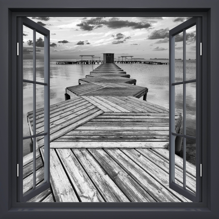 Black window open - Marina Vinyl Wall Mural - View through the window