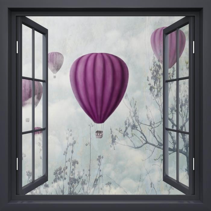 Papier peint vinyle Fenêtre Noire Ouverte - Ballons Dans Le Ciel - La vue à travers la fenêtre