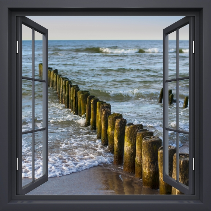 Black window open - Sunset on the Baltic Sea Vinyl Wall Mural - View through the window